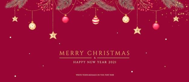 Minimale kerstbanner met prachtige ornamenten en natuur