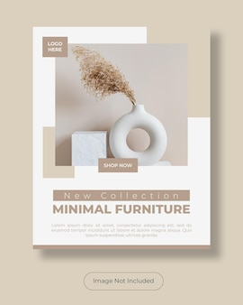 Minimale meubels instagram post portret bannersjabloon