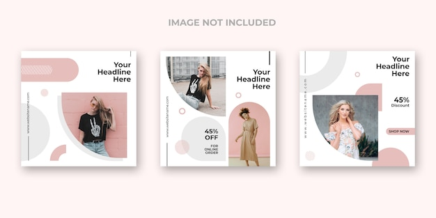 Minimale mode instagram banner set