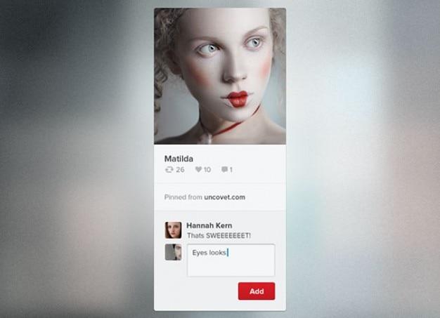 Minimale pinterest widget met avatar
