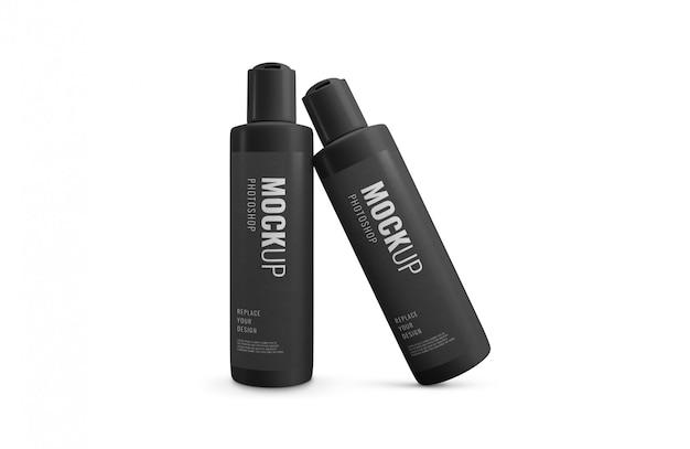 Minimale reclame voor zwarte flessen