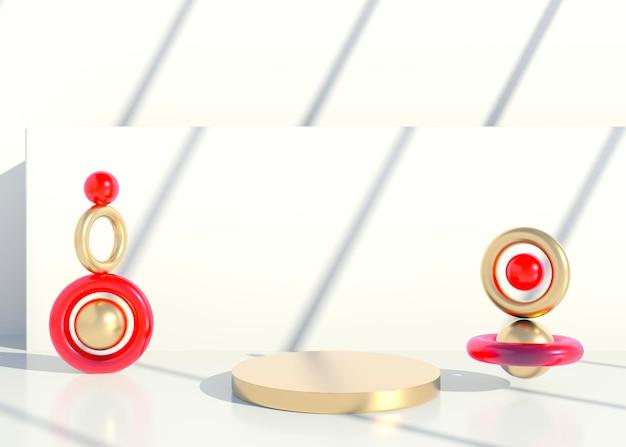 Minimale scène met geometrische vormen en podia met schaduwen