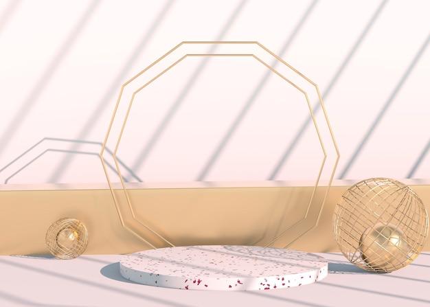 Minimale scène met geometrische vormen podia in crème achtergrond met schaduwen.. Premium Psd
