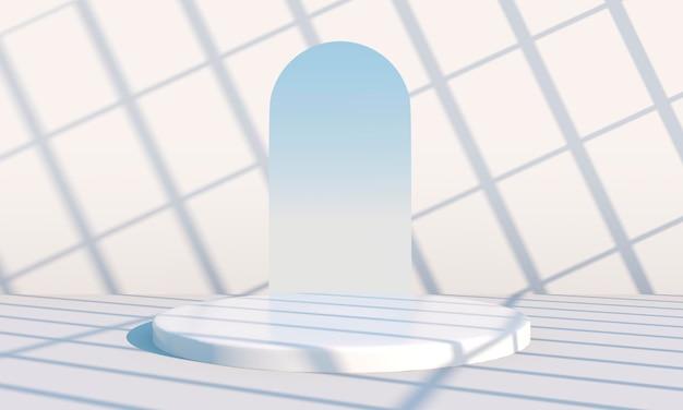 Minimale scène met geometrische vormen, podia op crèmekleurige achtergrond met schaduwen. scène om cosmetisch product te tonen, vitrine, winkelpui, vitrine. 3d
