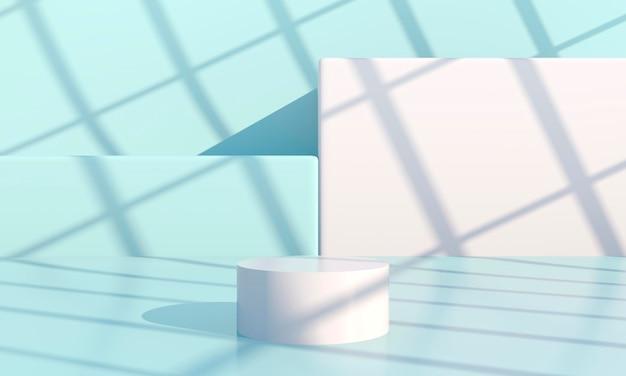 Minimale scène met podia met geometrische vormen Premium Psd