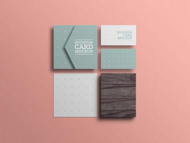 Minimale uitnodigingskaart met mockup voor visitekaartjes
