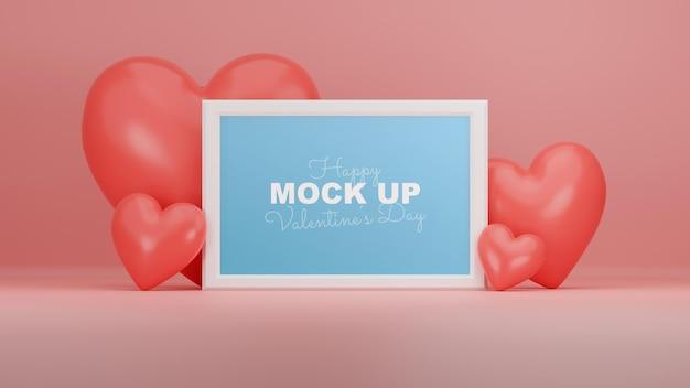 Minimale valentine-scène met framemodel en 3d-realistische harten