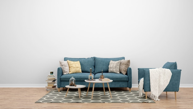 Minimale woonkamer met klassieke bank en tapijt, interieurideeën