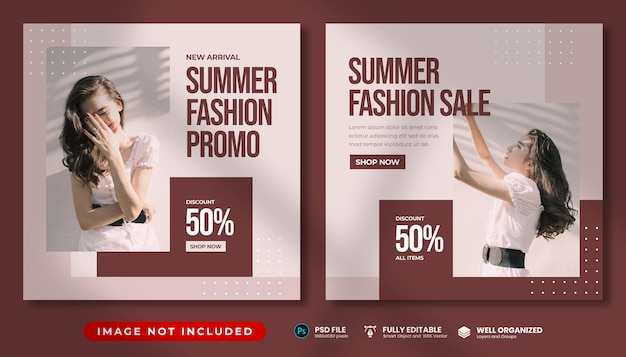 Minimale zomermode-promo instagram-postsjabloon