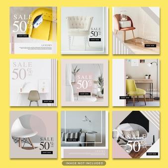 Minimalista venta de muebles instagram post template psd