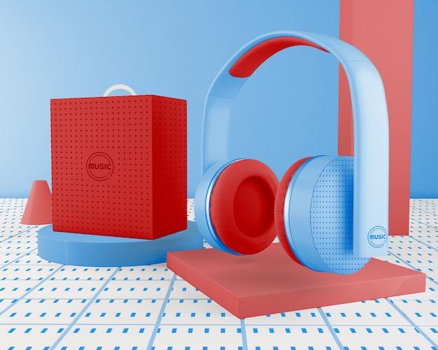 Minimalistisch arrangement met hoofdtelefoon
