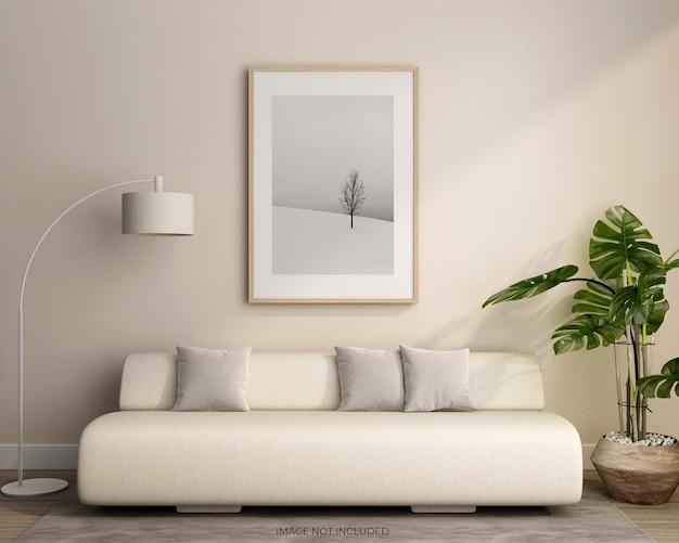 Minimalistisch frame in woonkamer mockups ontwerp geïsoleerd