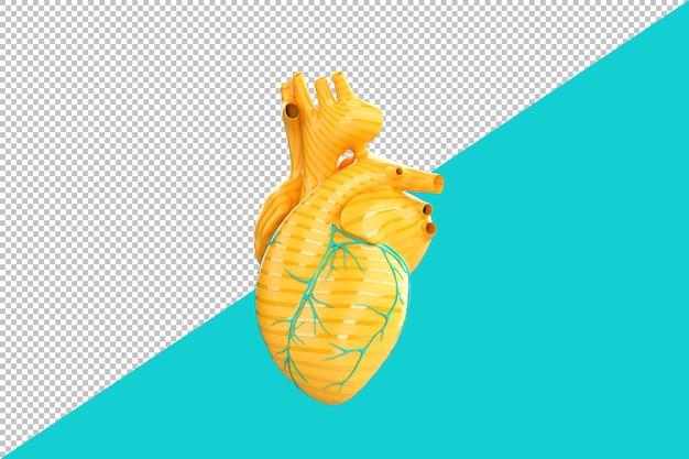 Minimalistisch geel menselijk hart dat over blauwgroen achtergrond wordt geïsoleerd. 3d-rendering Premium Psd