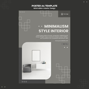 Minimalistisch interieur ontwerpsjabloon folder