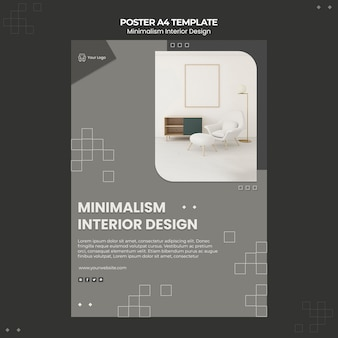Minimalistisch interieur ontwerpsjabloon poster