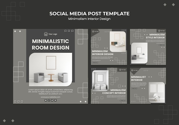 Minimalistisch interieur social media postsjabloon