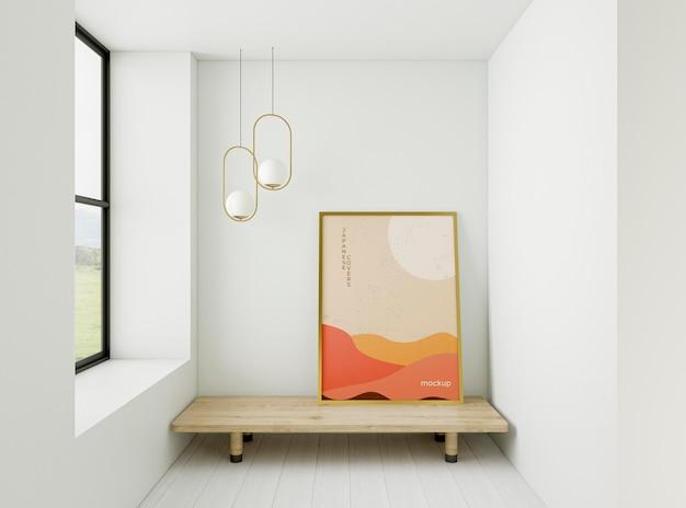 Minimalistisch interieurassortiment met frame mock-up