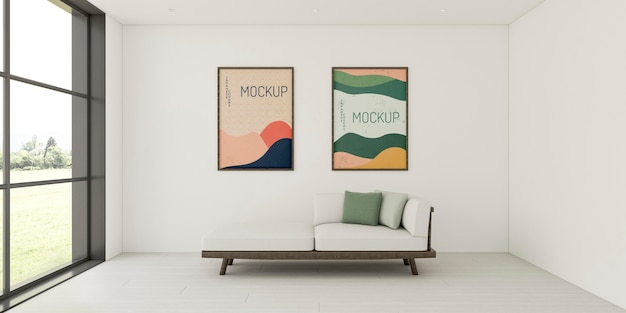 Minimalistisch interieurassortiment met mock-up frames