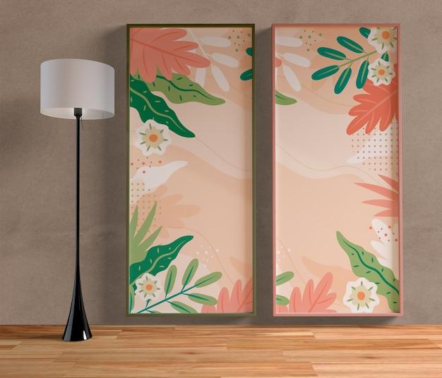 Minimalistisch kleurrijk schilderijkader dat aan de muur hangt