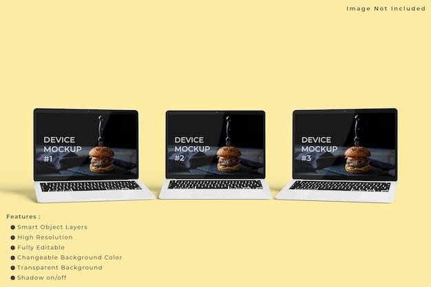 Minimalistisch laptopschermmodel met pastelkleurige achtergrond