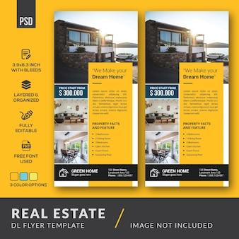 Minimalistisch ontwerp real estate dl flyers-sjabloon