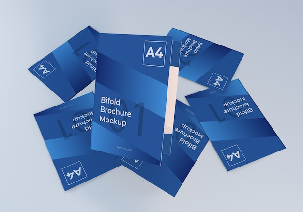 Minimalistisch stapelen a4 bifold brochure paper mockup