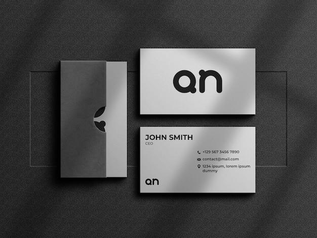 Minimalistisch visitekaartje mockup met kaartendoos