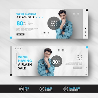 Minimalistische blue fashion sale ad social media banner