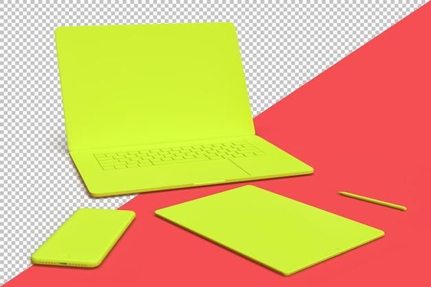 Minimalistische compositie met elektronische apparatuur zoals laptop, tablet en smartphone