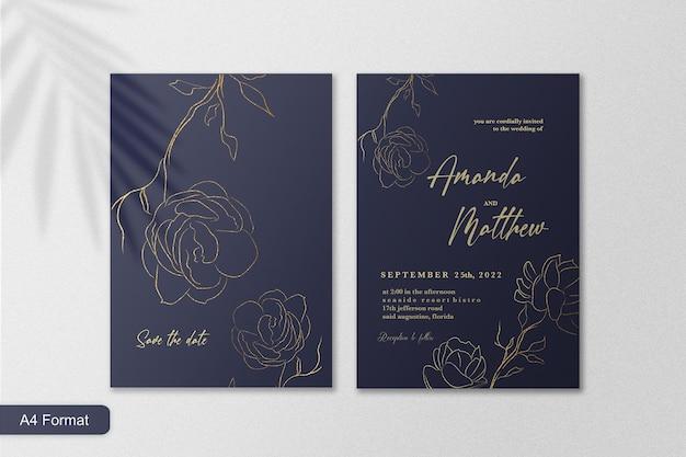 Minimalistische elegante bruiloft uitnodiging sjabloon