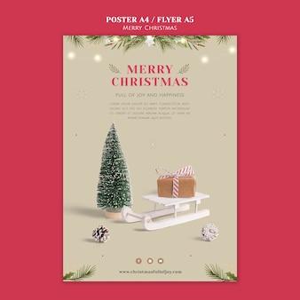 Minimalistische feestelijke kerstafdruksjabloon