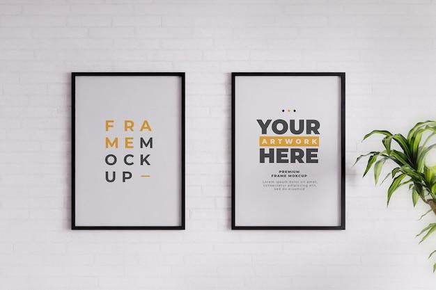 Minimalistische frame mockup poster witte bakstenen muur