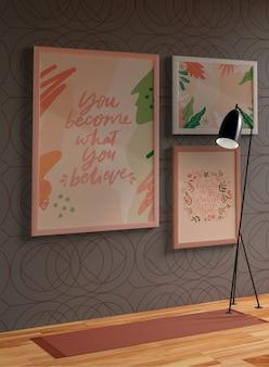 Minimalistische frames mock-up opknoping aan de muur