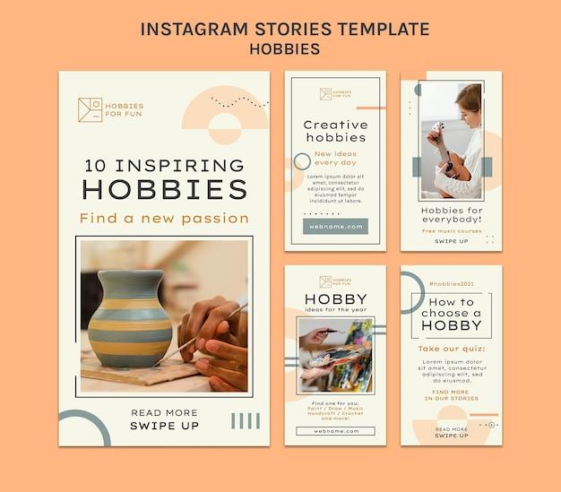 Minimalistische hobby's verzameling sociale media verhalen