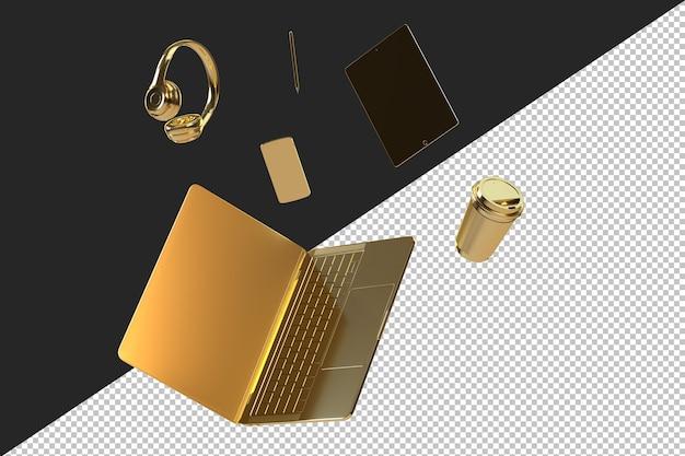 Minimalistische illustratie van een gouden laptop en accessoires