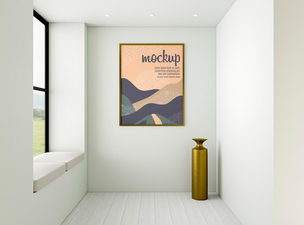 Minimalistische interieurcompositie met frame mock-up