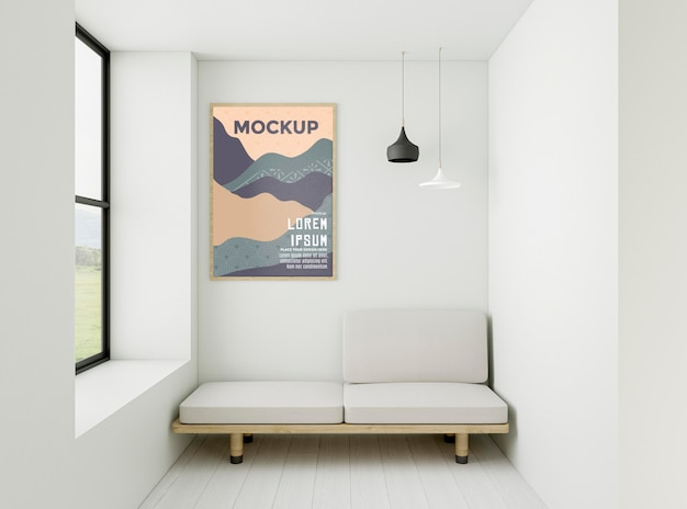 Minimalistische interieuropstelling met frame mock-up