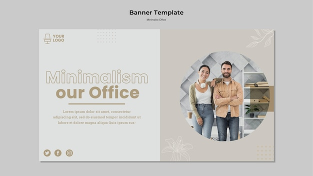 Minimalistische kantoorbannerstijl