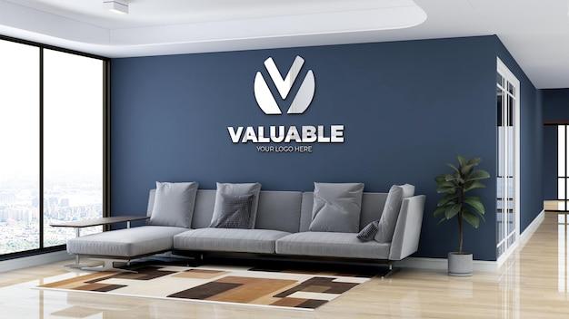 Minimalistische kantoorlobby wachtkamer muurlogo mockup
