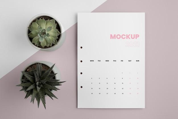 Minimalistische mock-up kalenderarrangement