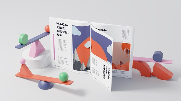 Minimalistische mock-up samenstelling voor tijdschriften