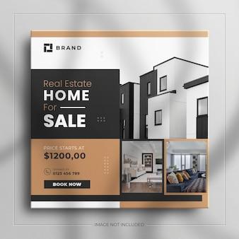 Minimalistische onroerend goed huis vierkante sociale media verkoop banner voor instagram verhaal met een schone mockup