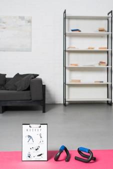 Minimalistische sport thuis ontwerp mock-up