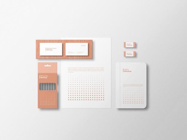 Minimalistische stationaire mockup met witte achtergrond