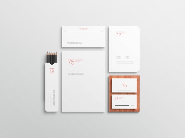 Minimalistische witte stationaire set mockup
