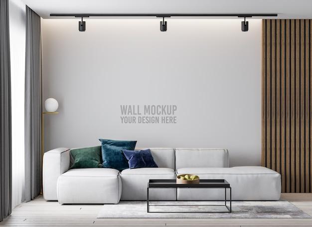 Minimalistische woonkamer muur mockup