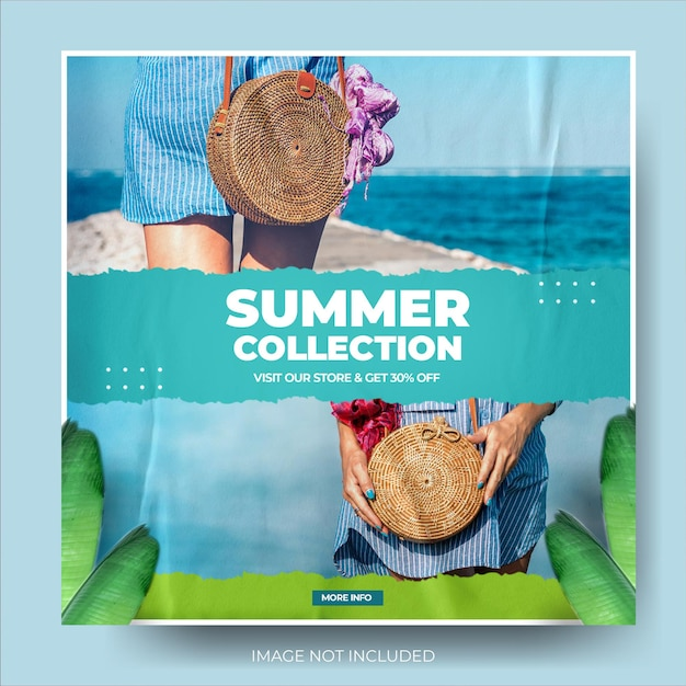 Minimalistische zomermodeverkoop instagram postfeed