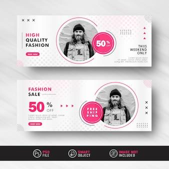 Minimalistische zwart-rode mode verkoop advertentie sociale media banner