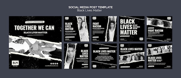 Minimalistische zwarte levens doen ertoe op posts op sociale media