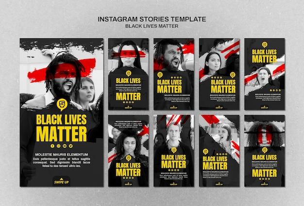 Minimalistische zwarte levens zijn van belang op instagram-verhalen met foto
